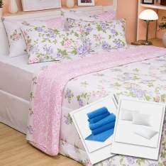 [SHOPTIME] Kit Enxoval Cama Casal Calgary 7 Peças + Travesseiro Percal 200 Fios 2 Peças + 2 Capas de Travesseiro Impermeável Percal 200 Fios + Jogo de Banho Luciana Azul 5 Peças - Casa & Conforto - R$270