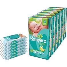 [Americanas] Kit 6 Fraldas Pampers Total P/M/G/XG/XXG + 6 Lenços Umedecidos Pampers - 288 Unidades - por R$229