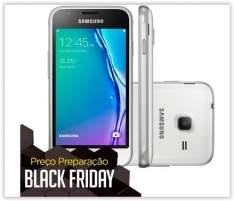 [Ricardo Eletro] Celular Smartphone Samsung Galaxy J1 Mini J105B Branco - Dual Chip, 3G, Tela 4.0, Câmera Traseira 5 MP + Frontal, Quad Core 1.2 Ghz, 8 GB, Android 5.1 por R$ 399