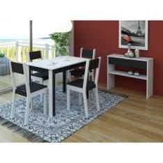 [Walmart] Sala de Jantar 4 cadeiras Smart Madesa Branco/Preto por R$ 259