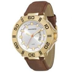 [RICARDO ELETRO] Relógio Masculino Mondaine, Analógico, Pulseira de Couro, Caixa de 5,4 cm, Resistente à Água 3 ATM - 76486GPMVDH1 - R$93