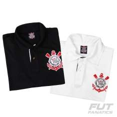 [Fut Fanatics] Combo Polo Corinthians Branca + Polo Corinthians Preta - R$88