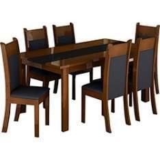[SUBMARINO] Conjunto de Mesa de Jantar Veneza + 6 Cadeiras Veneza Preto/Imbuia - Madesa - R$616