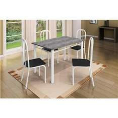 [BUG/EXTRA] Conjunto de Mesa Granito com 4 Cadeiras Vitória Branco/Preto - Art Panta por R$2