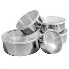[Kangoolu] Conjunto de Potes e Tigelas Organizadoras Inox com Tampas 5 peças - R$18
