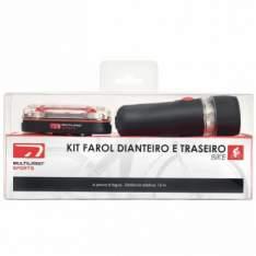 [ClubeDoRicardo] Kit Farol para bicicletas com faróis dianteiro e traseiro - Multilaser