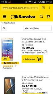 """[Saraiva] Smartphone Lenovo Vibe K5 Dualchip Dourado 4G Tela 5"""" Android Lollipop 5.1.1 Câmera 13Mp 16Gb por R$ 699"""