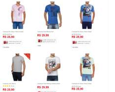 [Americanas] 5 camisetas masculinas por R$100