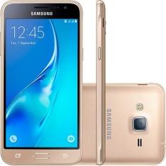 [Sou Barato] Smartphone Samsung Galaxy J3 Duos Desbloqueado Oi Câmera 8MP 4G/Wi-Fi Android Dourado  por R$ 600