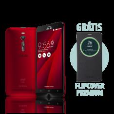 [ASUS] Zenfone 2 4GB/32GB Vermelho + Flip Cover Premium Preto - R$1349