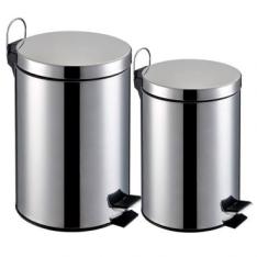 [Ricardo Eletro] Lixeira Inox - Kit 2 peças capacidade de 3L e 5L, Balde Interno Removível - R$44,91