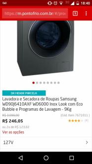 BUG Lava e Seca Samsung 9 kg R$240
