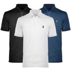 [Americanas] Kit Com 3 Polos Piquet Masculina - Polo Match por R$100