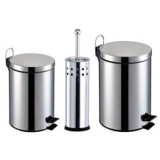 [Clube do Ricardo] Kit Banheiro 3 Peças: Lixeiras em Aço Inox com capacidade para 3 e 5L + Escova Sanitária com Cerdas Flexíveis e Suporte em Aço Inox - R$59,90
