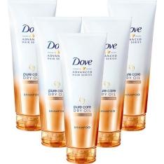 [Sou Barato] 5 Shampoos Dove Advanced Hair Series Pure Care Dry Oil 200ML - por R$22