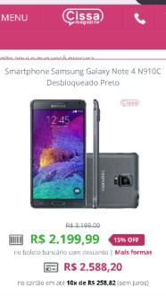 [Cissa Magazine] Galaxy Note 4 por R$2199