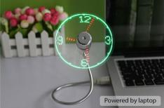 [GearBest] USB Clock Fan with Flexible Tube  -  GREEN LIGHT  SILVER R$ 19