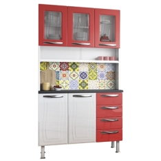 [EFACIL] Armário de Cozinha Ipanema 5 Portas 4 Gavetas Branco/Vermelho (TEM AMARELA TAMBEM) - Colormaq POR R$ 557