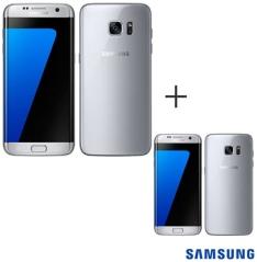 """[FASTSHOP] 02 Smartphones Galaxy S7 Edge Prata Samsung com Tela de 5,5"""", 4G, 32 GB e Câmera de 12 MP - SM-G935F"""