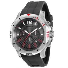 [RICARDOELETRO] Relógio Masculino Cronógrafo Seculus, Pulseira de Silicone Preta, Caixa de 4,8 cm, Resistente à Água 10 ATM - 60672G0SVNU2