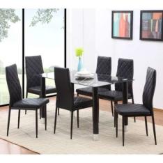 [Mobly] Conjunto de Mesa com 6 Cadeiras de Jantar Devon Preto por R$ 664