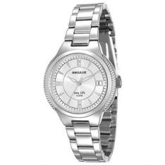 [RICARDOELETRO] Relógio Feminino Seculus, Analógico, Pulseira de Aço, Caixa de 3,6 cm, Resistente à Água 5 ATM - 23515L0SVNA2