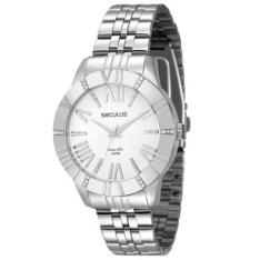 [RICARDOELETRO] Relógio Feminino Seculus, Analógico, Pulseira de Aço, Caixa de 4 cm, Resistente à Água 5 ATM - 28499L0SVNA2