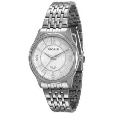 [RICARDOELETRO] Relógio Feminino Seculus, Analógico, Pulseira de Aço, Caixa de 4,1 cm, Resistente à Água 5 ATM - 23444L0SVNA2
