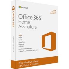 [Submarino] Microsoft Office 365 Home: 5 Licenças (PC, Mac, Android e IOS) + 1 TB de HD virtual para cada licença por R$ 90