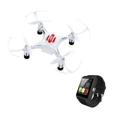 Kit de Mini Drone branco e Relógio Smart Preto