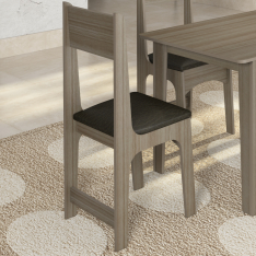 [Schumann] Conjunto de Mesa Sonetto Nicoli 110x68 cm com 4 Cadeiras Cinza London Preto