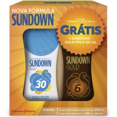 Kit Promocional Sundow Protetor Solar FPS 30 200ml + Loção Bronzeadora Gold FPS 6 120ml