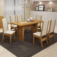 Conjunto de Mesa Master com 6 Cadeiras Master Cappuccino Corino Areia 18 por R$ 618