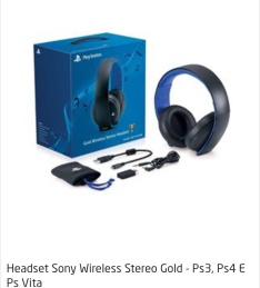 Headset Sony Wireless Stereo Gold 7.1 PS3 PS4 PS Vita por R$ 490