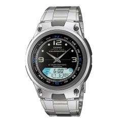 Relógio Masculino Casio, Cronômetro, Pulseira de Aço Inoxidável, Fases da Lua por R$ 142