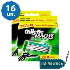 16 Cargas para Aparelho de Barbear Gillette Mach3 Sensitive por R$80
