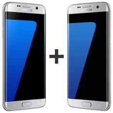 "Kit com 02 Smartphone Galaxy S7 Edge Prata, Tela 5.5"", 4G+WiFi+NFC, 12MP, 32GB - Samsung | 4651"