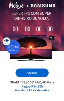 "SmartTV Samsung 40"" Tela Curva R$2108   SmartTV Samsung 55"" R$3685"