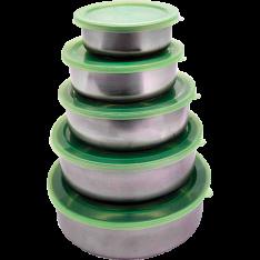 Conjunto de Potes Aço Inox com Tampa de Plástico 5 Peças - Casita  por R$ 11