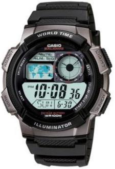 Relógio Masculino Casio Digital, Pulseira e Caixa em Resina, 5 Alarmes com Soneca, com Iluminação, Resistente à Água 100m