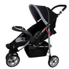 Carrinho De Bebê Naskinha Com 3 Rodas, Preto E Cinza - Madri Na333 - 3 RODAS