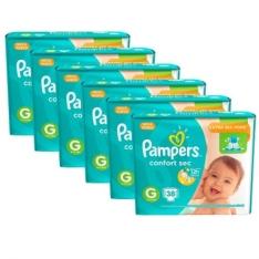 6 Pacotes de Fralda Pampers Confort Sec G - 228 Unidades - R$ 219,60