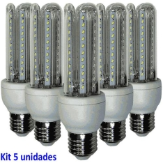 Lâmpada Led 7w Kit 5 Unidades E27 Branco Frio 6400k - R$ 35,16