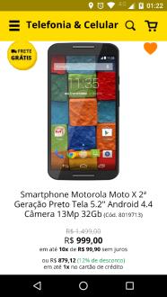 Smartphone Motorola Moto X 2ª Geração Preto Tela 5.2 por R$ 879