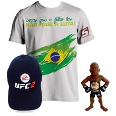 Boneco UFC Anderson Silva + Camiseta Round 5 Branca + Brinde Boné Exclusivo UFC 2 - R$ 39,90
