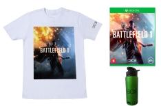 Kit - Battlefield 1 + Camiseta + Squeeze de Metal Xbox FRETE GRÁTIS R$159,90