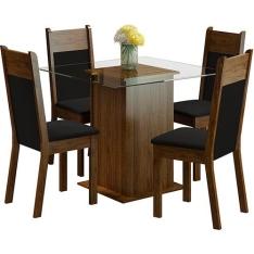 Conjunto de Mesa de Jantar Isis Rustic com 4 Cadeiras Isis Rustic/Preto - Madesa por R$ 400