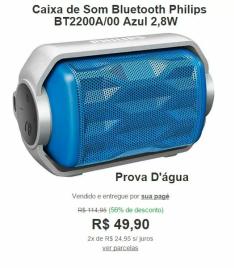 Caixa de Som Bluetooth Philips BT2200A/00 Azul 2,8W Prova D'água por R$ 50