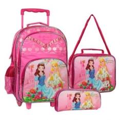 Kit My Lovely Princess - Mochilete c/ 2 Rodas, + Lancheira + Estojo em Poliéster, Rosa - São Paulo Express - R$80
