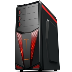 Gabinete Computer Case Gamer com Cooler Fan Vermelho - Preto 501B